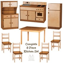 Deluxe Kitchen Play Set 8pc Natural Walnut Amish Handmade Kids Toy Furniture Usa - $1,471.99