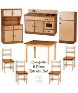 DELUXE KITCHEN PLAY SET 8pc NATURAL WALNUT Amish Handmade Kids Toy Furni... - $1,568.95