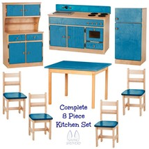 Deluxe Kitchen Play Set   8pc Natural Blue Amish Handmade Kids Toy Furniture Usa - $1,471.99