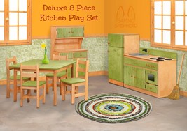 Complete Kitchen Play Set   8pc Natural Green Amish Handmade Kids Toy Furniture - $1,471.99