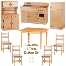 Complete Kitchen Play Set   8pc Natural Birch Amish Handmade Kids Toy Furniture - $1,471.99