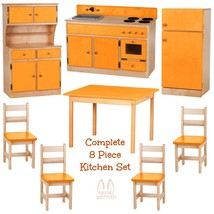 COMPLETE KITCHEN PLAY SET - 8pc NATURAL ORANGE Amish Handmade Kids Toy F... - $1,471.99