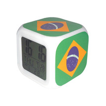 Led Alarm Clock Brazil National Flag Creative Desk Digital Clock Kids To... - $19.99