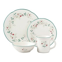 Christmas Plate Sets Holiday Winter Dinnerware Red Green Berries 16 Pc S... - $117.65