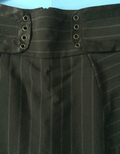 Bebe Striped Skirt Size 0 Black Straight Pencil Pinstripes Classy Career