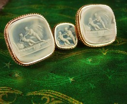 Erotic lovers / Vintage Cufflinks / Apollo and Daphne / HUGE Neoclassical Nude/  - $255.00