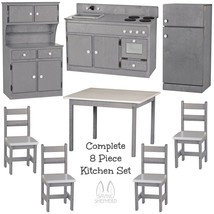 Complete Kitchen Play Set 8pc Gray & White Amish Handmade Kids Toy Furniture Usa - $1,471.99