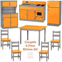 COMPLETE KITCHEN PLAY SET - 8pc ORANGE & GRAY Amish Handmade Kids Toy Fu... - $1,471.99