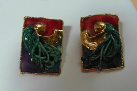Lacombe Signed Multicolor Gold-tone Unique Post Earrings 1988 - $24.75