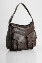 7 For All Mankind Leather Double Pocket Hobo Bag $379 BNWT Authentic Great Gift - $98.11