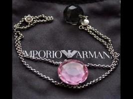 Emporio Armani Sterling Silver Pink QuartzBracelet EG2096 $495 BNWT Authentic - $125.00