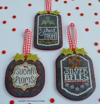 Part 3 Chalkboard Ornaments: Christmas Collection cross stitch Hands On Designs  - $9.00