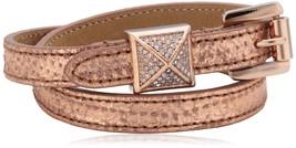 Michael Kors Double Wrap Python Embossed Leather PyramidStud Bracelet MK... - $63.11