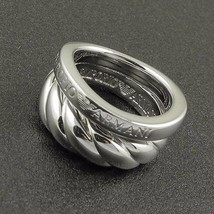 Emporio Armani .925 Silver Ring 100% Authentic Size 5.5 $140 BN With Gift Pouch - $65.11