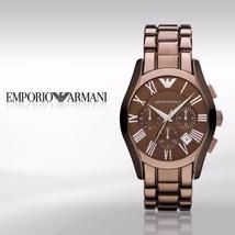Emporio Armani Unisex Ar1610 Brown Ceramic Chronograph Watch $445 Bn In Gift Box - $249.75