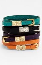 Michael Kors Torquise Leather Double Wrap PyramidStud Bracelet MKJ2795 $... - $69.11