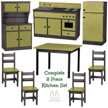 Complete Kitchen Play Set   8pc Green & Black Amish Handmade Kids Toy Furniture - $1,581.99