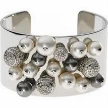 Emporio Armani SSteel Pearl & Crystal Cuff Bracelet $225 BNWT & EA Pouch EGS1451 - $139.11