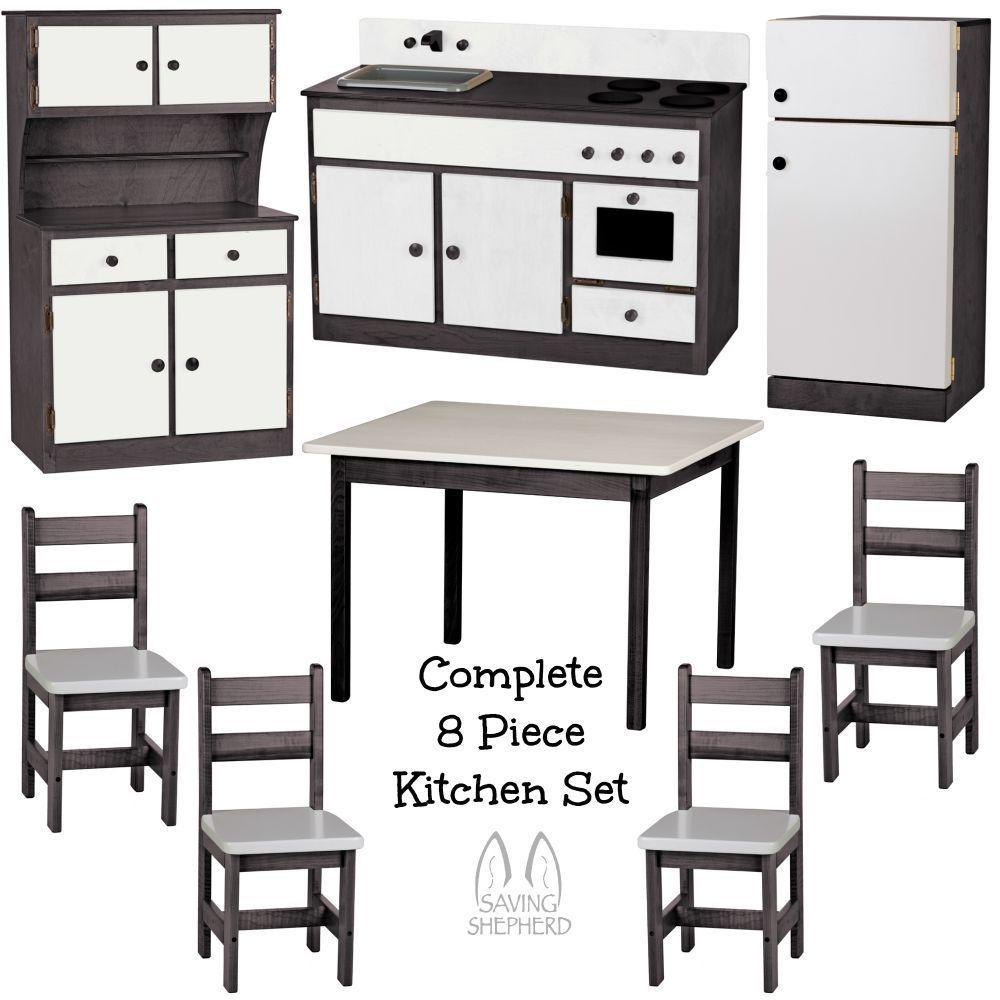 Complete kitchen play set 8pc black white amish for Kids complete kitchen set