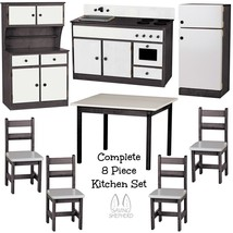COMPLETE KITCHEN PLAY SET - 8pc BLACK & WHITE Amish Handmade Kids Toy Fu... - $1,581.99
