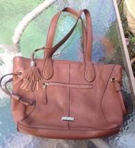 Franco Sarto Handbag Purse Bucket Brown  Tassel Leather Fringe - $19.98