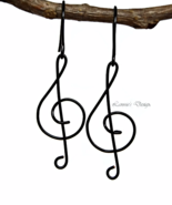 Black Treble Clef Dangling Earrings - $19.90+