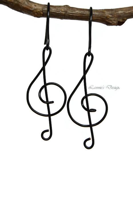 Black Treble Clef Dangling Earrings