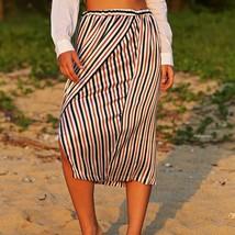 Chic Elastic Waist Color Striped Midi Split Skirt for Women - $4.34