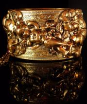 HUGE Putti Bracelet Vintage Cherub Relief VIctorian Angel Nouveau Bangle Antique - $335.00