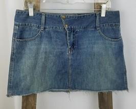 bacc36d539 American Eagle women 10 jeans mini skirt A-Line cotton blue distressed -  $13.86
