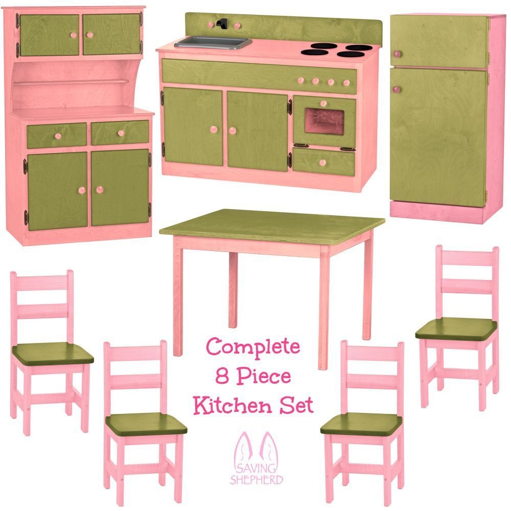 Complete kitchen play set 8pc pink green amish handmade for Full set kitchen