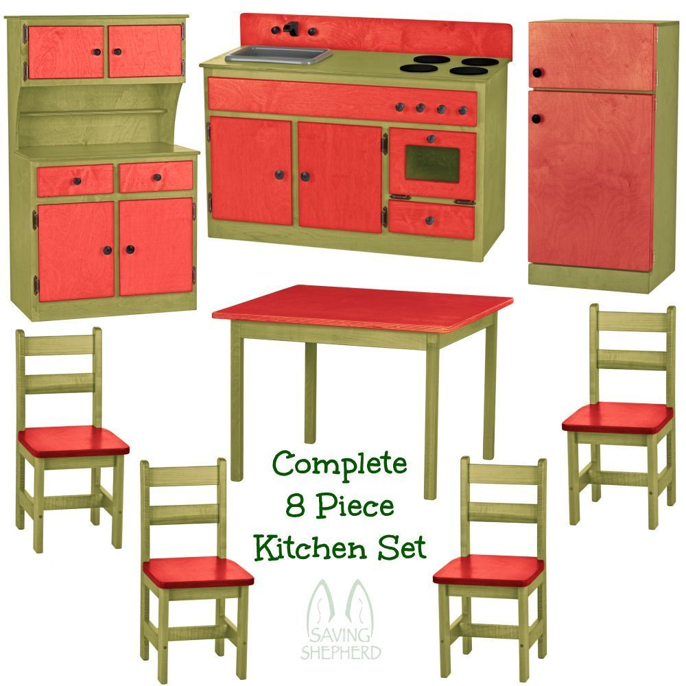 Complete kitchen play set 8pc red green amish handmade for Entire kitchen set