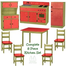 Complete Kitchen Play Set 8pc Red & Green Amish Handmade Kids Toy Furniture Usa - $1,581.99