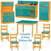 Complete Kitchen Play Set   8pc Turquoise & Orange Amish Handmade Toy Furniture - $1,581.99