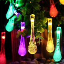 LED Solar 6M 30 Lights 8 Modes Waterproof Water Drop Solar Fairy String ... - $25.89