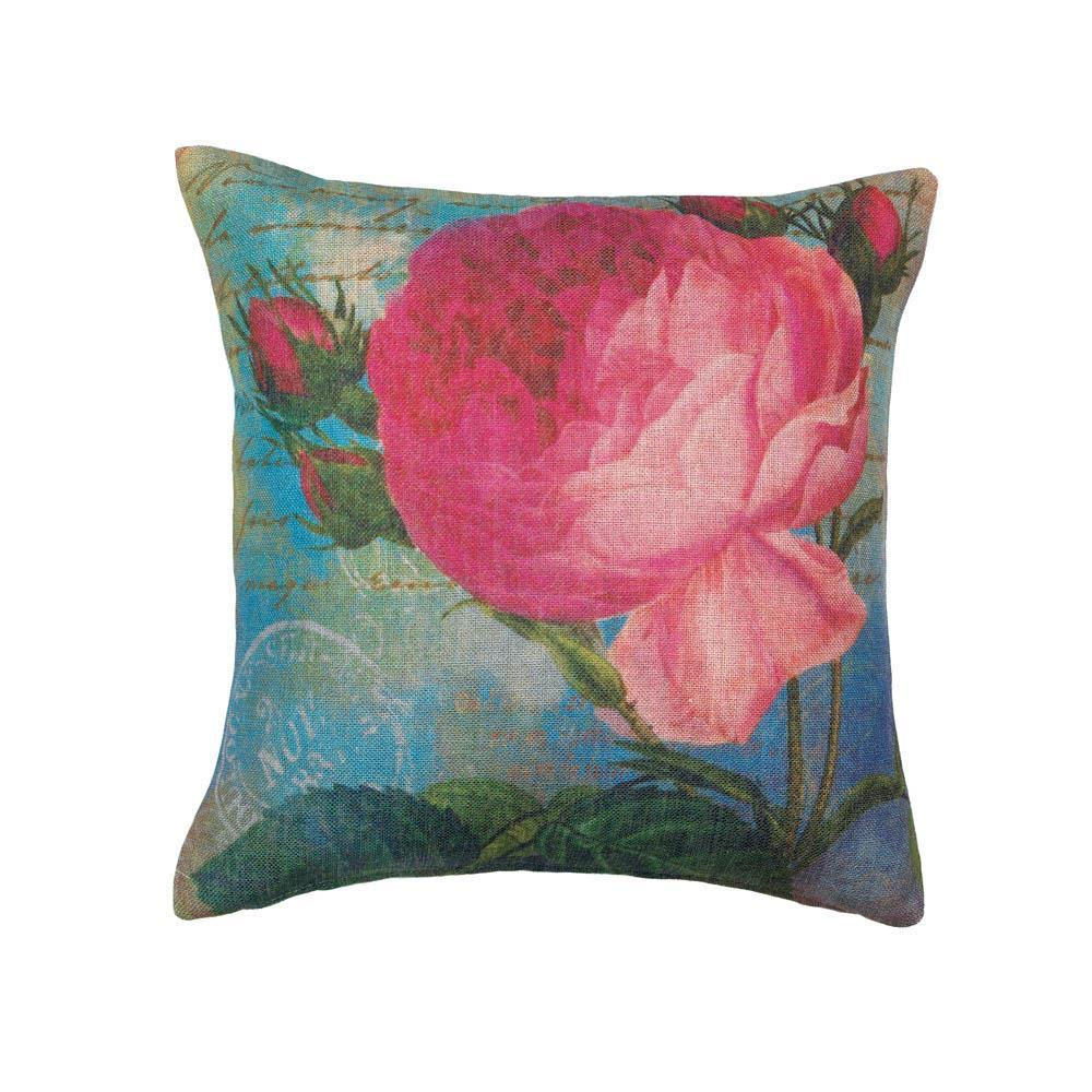 Pink Rose Print Pillow Decorative Bed Pillows