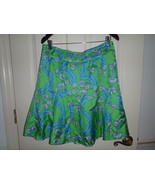Lilly Pulitzer ADELINE Skirt Size 8 Fit & Flare Bow Green Blue Floral Silk  - $46.50