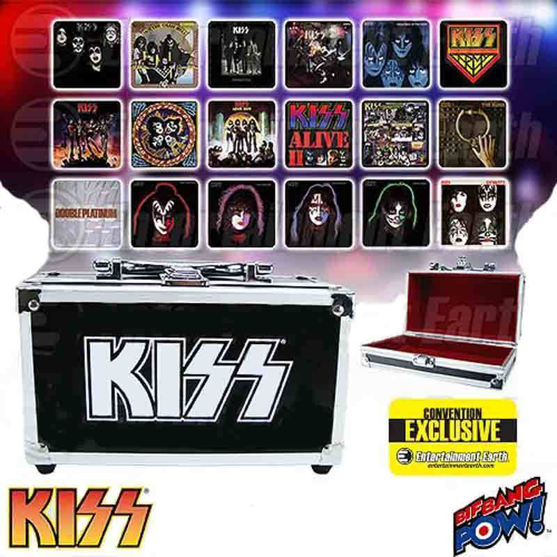 KISS Album Cover Coaster Set in Guitar Case - Comic Con Exclusive, Bif Bang Pow!