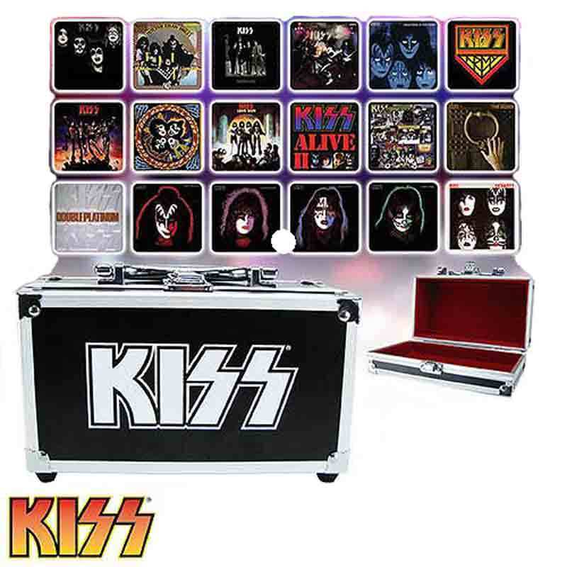 Image 1 of KISS Album Cover Coaster Set in Guitar Case - Comic Con Exclusive, Bif Bang Pow!