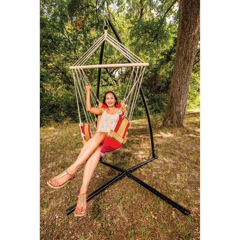 Hanging Hammock Rope Chair Club Fun Patio Deck with Arm Rests