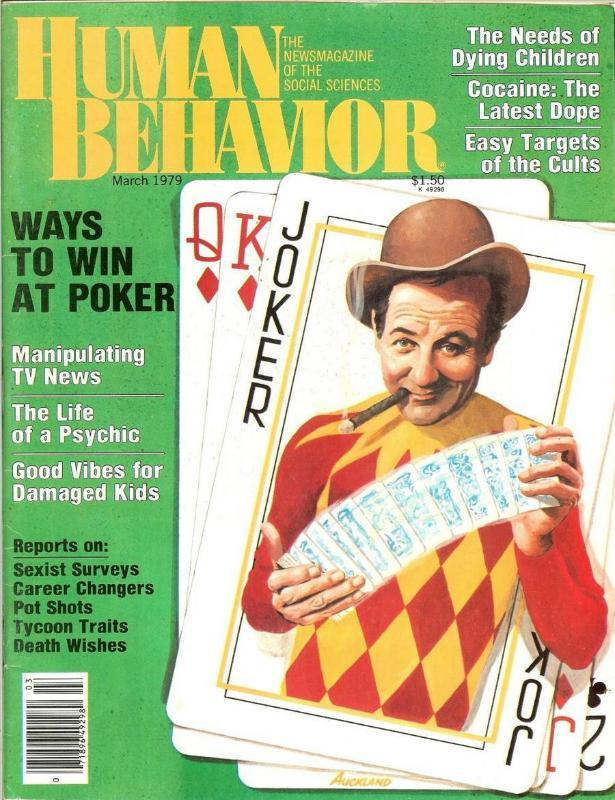 human behavior magazine march 1979 artist jim auckland playing cards gambling