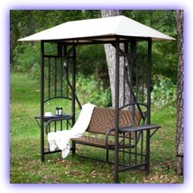 Swing Sets For Backyard w Canopy Tent Metal Wicker Side Table Patio Rela... - $572.07