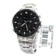 Casio Men's EQSA500DB-1AV Silver Stainless-Steel Quartz Watch with Black... - $559.69