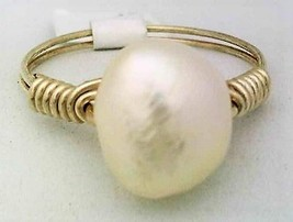 Freshwater Pearl Gemstone Bead Silver Wire Wrap Ring sz 7 - $10.08