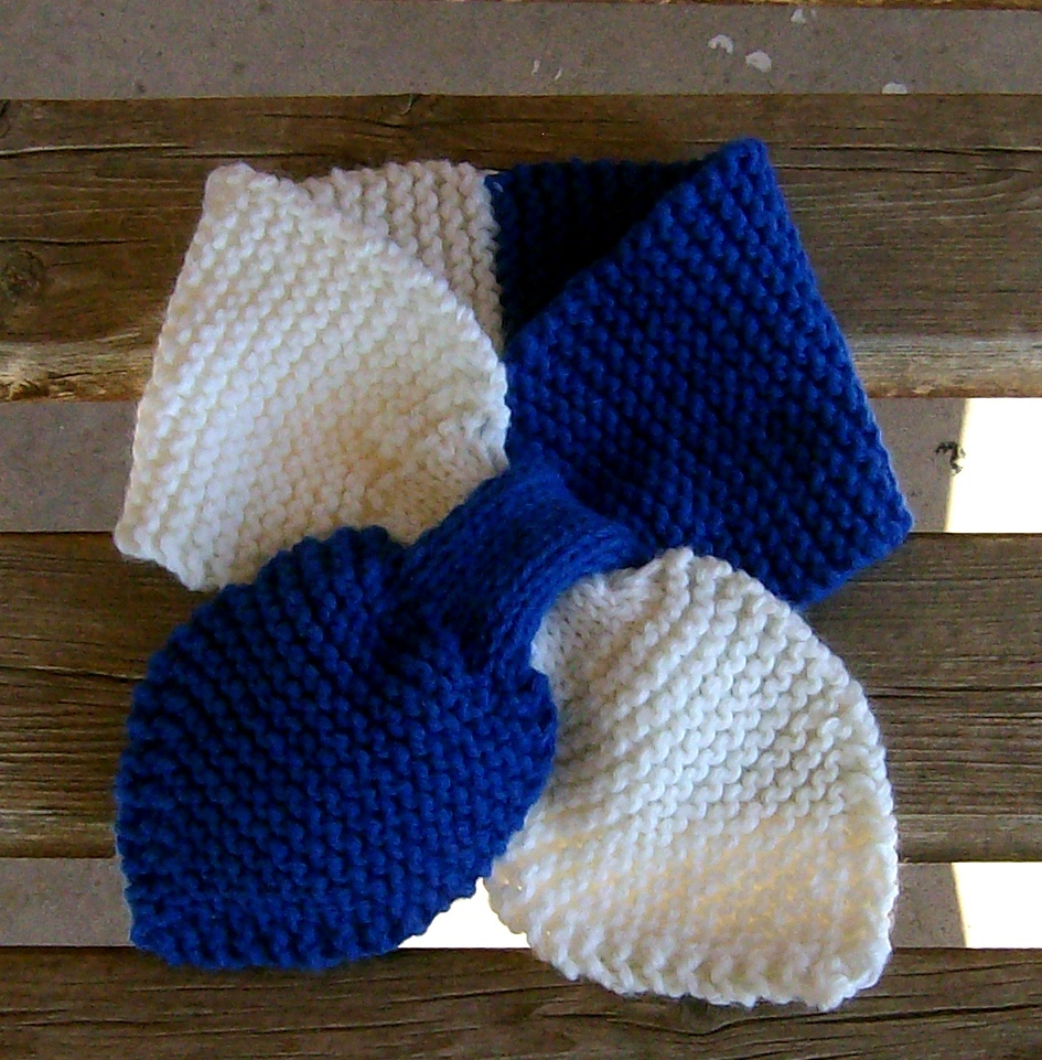 hand knitted school colors lotus leaf neck scarf easy care acrylic