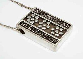 Fun & Funky Sterling Silver Modernist Rectangle Pendant w/ Chain - $44.54