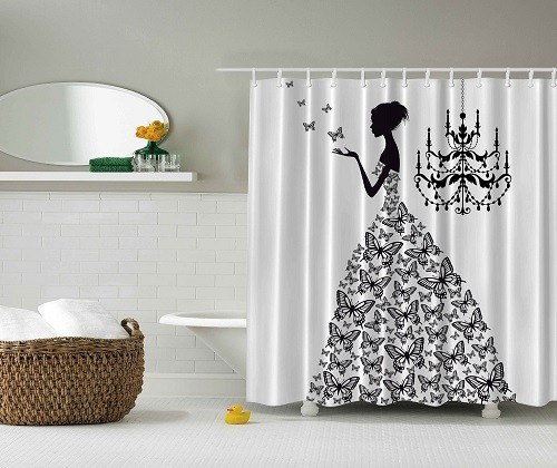 contemporary shower curtain elegant black white bathroom. Black Bedroom Furniture Sets. Home Design Ideas