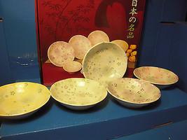 Japanese Minoya Shallow Colorful Floral Dish Se... - $56.09