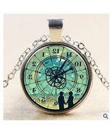 BACKWARDS CLOCK GLASS CABACHON PENDANT NECKLACE... WE COMBINE SHIPPING - $2.00