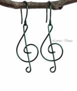 Dark Green Treble Clef Dangling Earrings - $19.90+